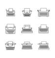 typewriter machine keys icons set outline style vector image vector image