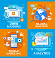 video blogging global mobile marketing analytics vector image vector image