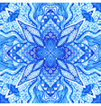 Watercolor blue absttact ornament Doily watercolor vector image