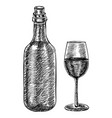 wine bottle and a glass wine hand drawn sketch vector image vector image