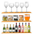 wine glasses and food on wooden shelves vector image