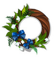 wooden wreath of snowdrops and green leaves vector image