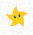 yellow cartoon star simple flat vector image