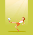 young caucasian soccer player kicking a ball vector image vector image