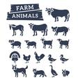 Domestic farm animals flat silhouettes vector image