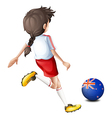 A lady kicking the ball with the flag of New vector image vector image