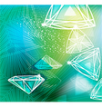 Abstract green background with linear diamonds vector image