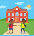 arfo american students in front school vector image vector image