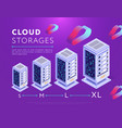 arranged database storages on purple vector image