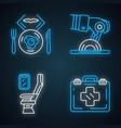 aviation services neon light icons set vector image vector image