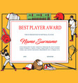 baseball best player award diploma template vector image vector image