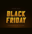 black friday sale banner golden shiny text vector image vector image