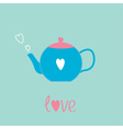 Blue and pink teapot with hearts Love card vector image