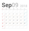 calendar planner september 2018 week starts sunday vector image vector image