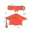 cartoon graduation cap and diploma scroll icon in vector image vector image