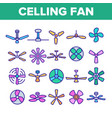 ceiling fans propellers linear icons set vector image