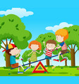 children playing seesaw in the park vector image vector image