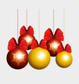 christmas balls with ribbon bow hanging to new vector image vector image