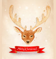 christmas vintage postcard with reindeer vector image vector image