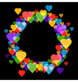 Circle frame with hearts on black background for vector image