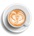 coffee art cup top view heart hot vector image