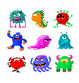 cute cartoon monsters set comic halloween joyful vector image