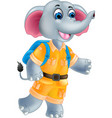 funny elephant cartoon posing with laughing vector image