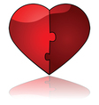 glossy heart puzzle vector image vector image