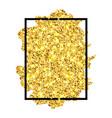 gold brush stroke in black frame isolated white vector image