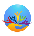 happy people protecting world logo vector image vector image