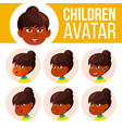 indian girl avatar set kid primary school vector image vector image