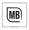 initial letter mb logo template design vector image