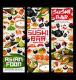 japanese sushi and rolls asian food bar banners vector image vector image