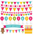 Kid birthday party decoration set vector image