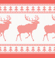 knitted deer seamless pattern in red color vector image vector image