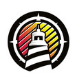 logo lighthouse in circle vector image vector image