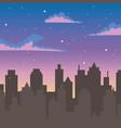 night sky stars clouds silhouette urban city vector image