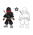 ninja cartoon on white background vector image vector image
