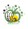 one hundred percent eco label original design vector image