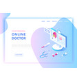 online medicine healthcare flat isometric design vector image vector image