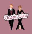 people in classic evening fashion outfit vector image vector image