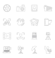 Photography icons outline vector image