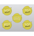 Sale stickers and labels with Sale up to 60 - 90 vector image