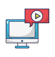 screen computer and video with chat bubble vector image