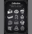 set hand-drawn icons pastries collection vector image