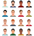 set of avatars of men in a flat style vector image