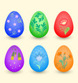 set of easter eggs decorated with floral patterns vector image