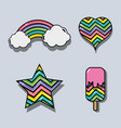 set rainbow in differents shapes design vector image