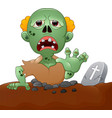 spooky zombie coming out of the grave vector image