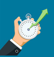 stopwatch in hand with a growing arrow vector image vector image
